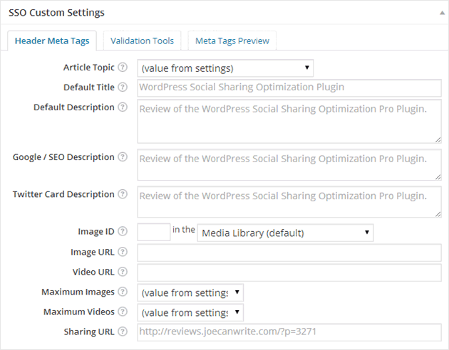 Settings for individual posts