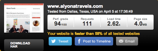 Alyonatravels.com on Media Temple Hosting - Tested from Dallas