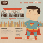 """""""Graphic design superhero"""" Brad James of Captain Creative has a handle on his brand thanks to this customized theme."""