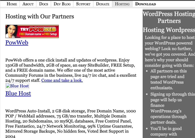 The WordPress.org Recommended Hosting page back in 2005.