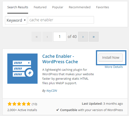 search for cache enabler