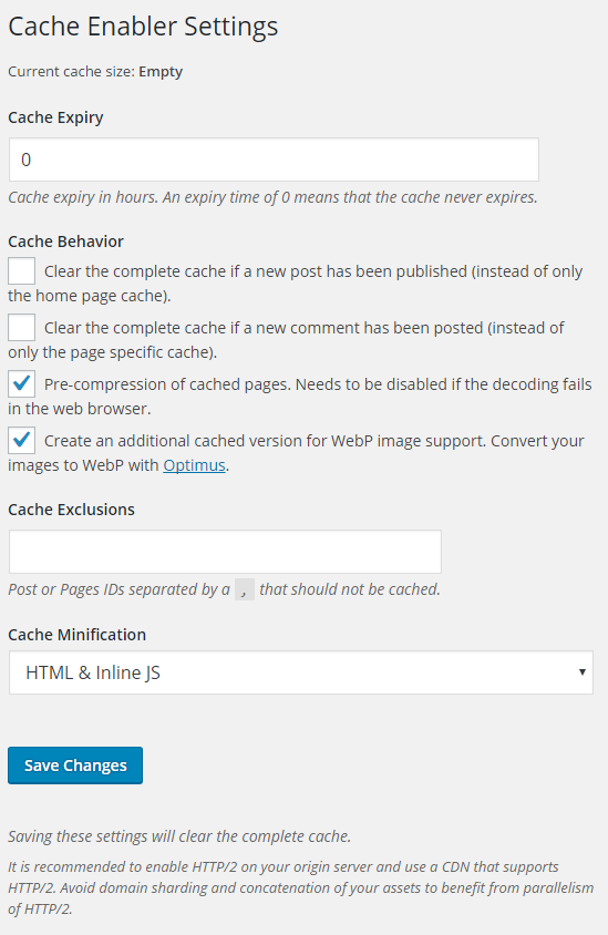 wordpress cache enabler settings