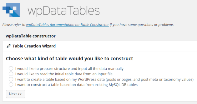 Table Constructor Table Creation Wizard