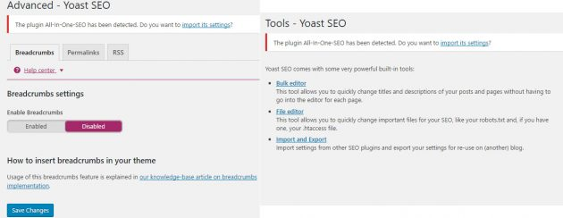 yoast advanced settings