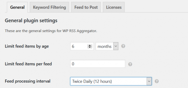 WP RSS Aggregator - General Settings