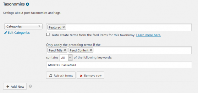 WP RSS Aggregator - Taxonomies, Categories and Tags, Example