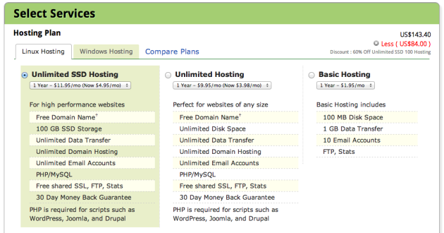 select hosting type