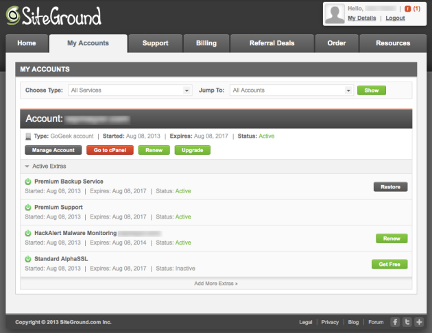 siteground panel